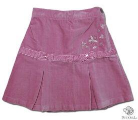【子供服】子供服女の子刺しゅう入り高級感あるベロア地イギリスお嬢様のプリーツスカート(濠Du)子供 誕生日プレゼント 子ども 子供服 ブランド 上品 アドゥラブル