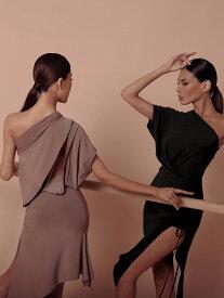 Ads JAPAN (エーディーエス) 「Queenie Diamante」ワンショルダーワンピース【ZYM2026】(社交ダンス/ダンスウェア/ラテンダンス)