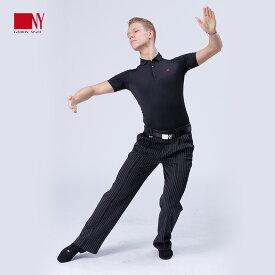 Ads JAPAN (エーディーエス) NY製ダンス用ストレッチポロシャツ【NY 186971】( 社交ダンス / メンズダンスウェア / スタンダード / ボールルーム / ラテン)