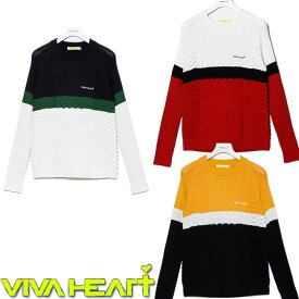 VIVA HEART レディース カラーブロックケーブルニットPO【012-13011】【ビバハート】