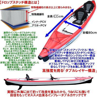 本格派インフレータブルカヤックMarinSpeeder420【毎週コレでジギングしてます】エア充填5分以下!パドル早い!船体全部ドロップステッチ構造PVC2枚重ねのダブルレイヤー高耐久性安定感抜群カヤックフィッシングカヌーアウトドア釣人【2人乗タンデム艇】