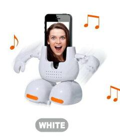 電池もつけます!踊る!フェイススタンド◆ホワイロ、白◆iphoneで撮ったあの人が音楽に合わせて踊ります♪