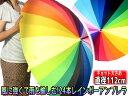 【あす楽】【送料無料】雨の日をお洒落に♪風にも強い24本傘大判レインボーアンブレラ◆ジャンプ傘◆送料無料
