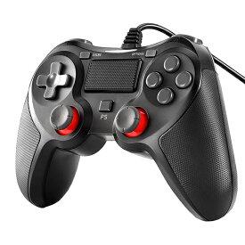 送料無料!PS4コントローラー 有線コントローラー PC PS3対応 PS4 Pro Slim /PS3 /Win7/8/10 対応 有線 ゲームパッド 人間工学 二重振動 定形外郵便発送のみ