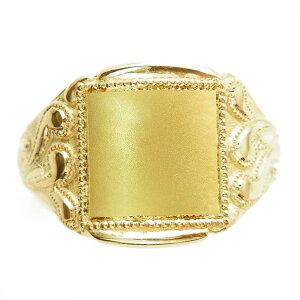 【ご注文後10%OFF】柄入り メンズ リング - K18 18金 イエロー ゴールド メンズ リング 男性用 指輪 柄 無地