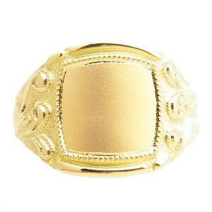 【ご注文後5%OFF(9/20まで)】柄入り メンズ リング - 18金 K18 イエロー ゴールド メンズ リング 男性用 指輪 柄 無地