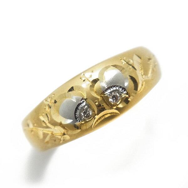 月型甲丸 梅彫 リング 0.02ct(Total) K18/Pt 和彫り 18金 イエローゴールド ゴールド Pt900 プラチナ 伝統工芸 ダイヤモンド リング ダイヤモンドリング 和柄 和彫りリング 昔ながら 梅 指輪 花