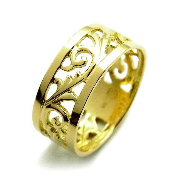 7mm幅 フルエタニティ 透かし 平打ち リング - K18 地金指輪 ゴールド指輪 エタニティリング エタニティーリング 結婚指輪 透かし すかし 幅広 唐草模様 からくさ
