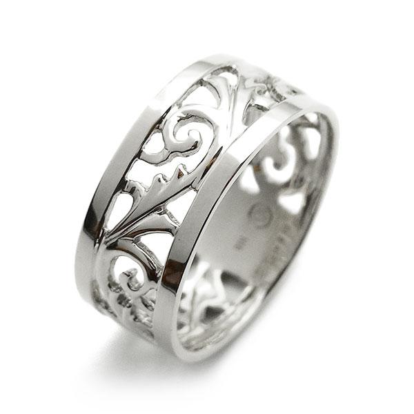 【ご注文後5%OFF】7mm幅 フルエタニティ 透かし 平打ち リング - Pt 地金指輪 プラチナ指輪 エタニティリング エタニティーリング 結婚指輪 透かし すかし 幅広 唐草模様 からくさ