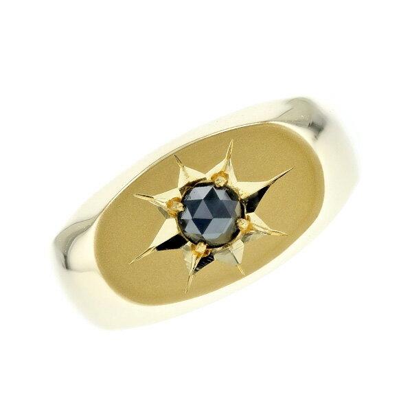 ブラックダイヤモンド 印台 メンズリング 0.19〜0.25ct --ローズカット K18 0.1ct 0.1カラット 0.2ct 0.2カラット 横 小判 ピンキー 小指 ブラック ダイヤモンド ブラックダイヤ 18金 イエローゴールド ゴールド GOLD 印台 メンズ リング 指輪 男 mens ring