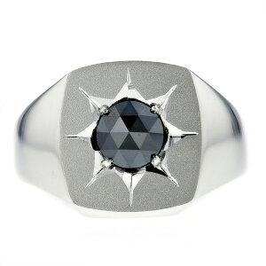【ご注文後5%OFF】ブラックダイヤモンド 印台 メンズリング 0.898ct --ローズカット プラチナ 印台 ブラック ダイヤモンド 0.8ct 0.8カラット Pt ブラックダイヤ 黒ダイヤ リング 指輪 mens メンズ