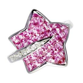 【ご注文後5%OFF】ピンクサファイア リング ダイヤモンド 0.11ct(Total) VS〜SIクラス-F〜Hクラス-ラウンドブリリアントカット K18WG ピンクサファイヤ ダイヤモンド ダイヤ ダイアモンド ミステリー K18 18金 ホワイトゴールド リング 指輪 星 星型 スター star