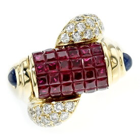 【ご注文後20%OFF】ルビー・サファイア・ダイヤモンド リング R 3.50ct(Total)/S 0.30ct(Total)/D 1.10ct(Total) - K18 4ct 4カラット 指輪 サファイヤ プラチナ ダイア ダイヤ ダイアモンド 色石 カラーストーン