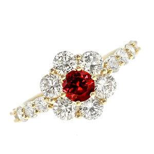 非加熱 ルビー リング 0.45ct -ピジョン・ブラッド-ラウンドミックスカット 18金 pigeon blood K18 18K YG 指輪 ルビーの指輪 ルビーリング ルビー ダイヤモンド ダイヤ ダイアモンド ring ruby 紅玉 色石