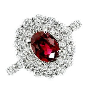 ルビー ダイヤモンド リング 1.723ct -CRIMSON REDカラー-オーバルブリリアントカット プラチナ Pt900 Pt 指輪 ruby クリムゾン レッド 赤色 ダイア ダイアモンド ダイヤ ルビーリング ring 色石
