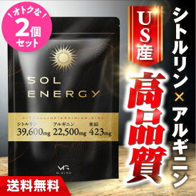 シトルリン アルギニン 亜鉛 マカ 『ソルエナジー 2個セット』 〈薬剤師監修〉 送料無料 栄養機能食品 サプリ 1ヶ月分 男性 エナジー自信 活力 増大 solenergy ※精力剤ではありません