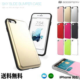 SKY SLIDE BUMPER CASE【DM便送料無料】アイフォンカバー スライド iPhoneXsMAX iPhoneXR iPhoneX iPhone8 iPhone8Plus iPhone7 iPhone7Plus iPhone6s iPhone6sPlus iPhone6 iPhone6Plus iphoneケース カード収納 カードケース シンプル スマホケース ★★