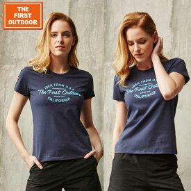 \OUTLET/ The First Outdoor ネイビー ロゴ 紺 Tシャツ TFO-613752 レディース S-XL 透湿 UVカット 柔らか生地 毛玉できにくい加工 アウトドア レジャー 普段着 半袖 キャンプ ゴルフ ウェア プレゼント 贈り物 ax アエトニクス