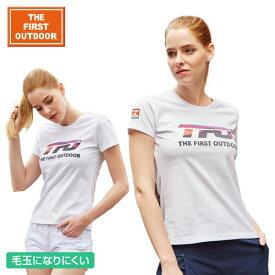 【OUTLET価格】The First Outdoor ホワイト ロゴ 白 Tシャツ TFO-613755 レディース S〜XL 透湿 UVカット 柔らか生地 毛玉できにくい加工アウトドア キャンプウェア レジャー 普段着 半袖 ゴルフ ウェア プレゼント 贈り物 ax アエトニクス