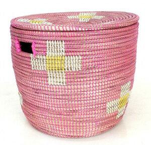 セネガルバスケット 蓋付きかご ピンク黄色白お花柄 ランドリー おもちゃ入れ