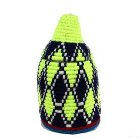 モロッコ ベルベルバスケット アクリル毛糸カラフル蓋つきかご 小 r01 一点もの