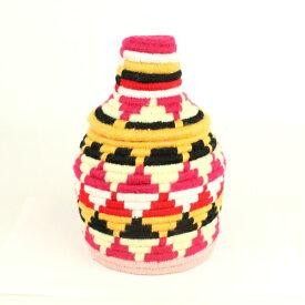 モロッコ ベルベルバスケット アクリル毛糸カラフル蓋つきかご 小 r02 一点もの