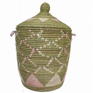 セネガルバスケット 蓋付きかご 春よこい オリーブ ホワイト ピンク おもちゃ入れ インテリアバスケット