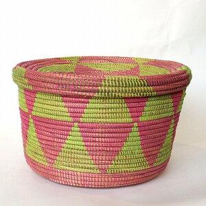 セネガルバスケット 筒型 蓋付き 三角柄段々柄 L ストロベリー