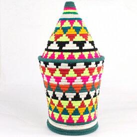 モロッコ ベルベルバスケット アクリル毛糸カラフル蓋つきかご 大 38 一点もの