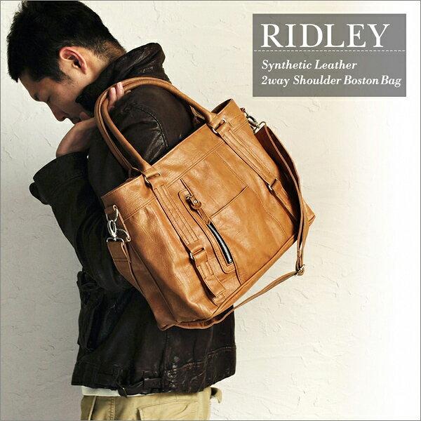 ショルダー ボストンバッグ メンズ メンズボストンバッグ TRICKSTER トリックスター Brave Collection RIDLEY(リドリー) メンズバッグ バック 鞄 かばん 送料無料!(地域限定) ブラック ダークブラウン キャメル カーキ