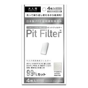 日本製 N95マスクフィルター ピットフィルター 4枚入(28日分) 大人用 子供用 高機能 ピットマスク用フィルター インナーマスク マスクインナー インナーフィルター 国産 正規品 Pit Filter ウ