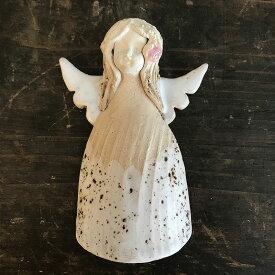 天使 エンジェル 壁掛け 置物 オブジェ ウォールデコ アンティーク調 ウォールアート 陶器 インテリア おしゃれ かわいい 雑貨 ハンドメイド ヨーロッパ 東ヨーロッパ ポーランド チェコ 東欧 ポーランドの壁掛け天使女の子(白色花飾り) pz-017