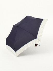 [Rakuten Fashion]ヘムストライプ晴雨兼用折りたたみ傘雨傘 Afternoon Tea アフタヌーンティー・リビング ファッショングッズ 日傘/折りたたみ傘 ネイビー ブラック