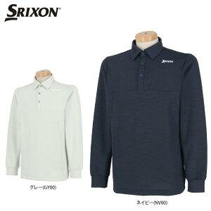 スリクソン メンズ シャドーボーダー柄 長袖 ポロシャツ RGMQJB04 ゴルフウェア [2020年秋冬モデル 50%OFF] 特価 【あす楽対応】