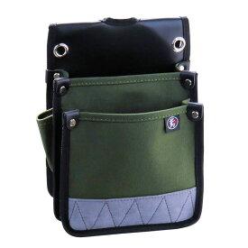 帆布 腰袋 電工用 国防色 防水 内側ポケット付 M 60-OD 鳶