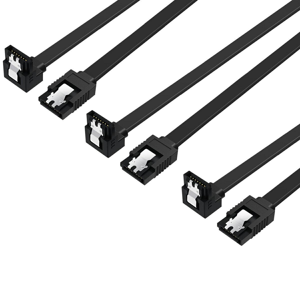 【送料無料 3本セット】 SATA ケーブル L型 ラッチ付き シリアルATA3ケーブル 6Gbps対応 SSD/HDD増設 抜け落ち防止 45cm SATA3 ケーブル