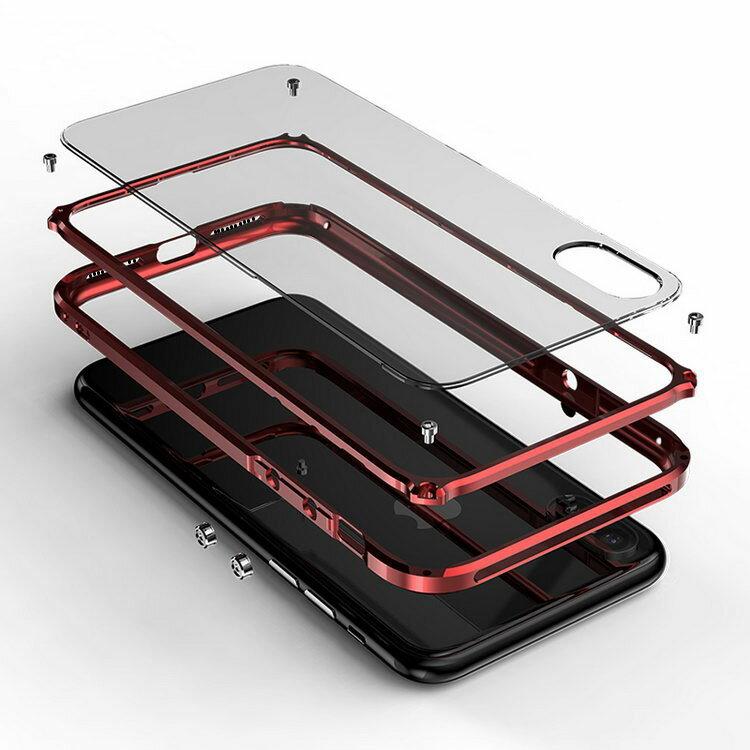 iPhoneX アルミバンパー クリア バックパネル付き 2重構造 アイフォンX ハードケース/カバー かっこいい メタルサイドバンパー スマホ バンパーケース/カバー のアルミフレームー製耐衝撃プロテクター おすすめ おしゃれ 衝撃吸収 スマホケース/カバー