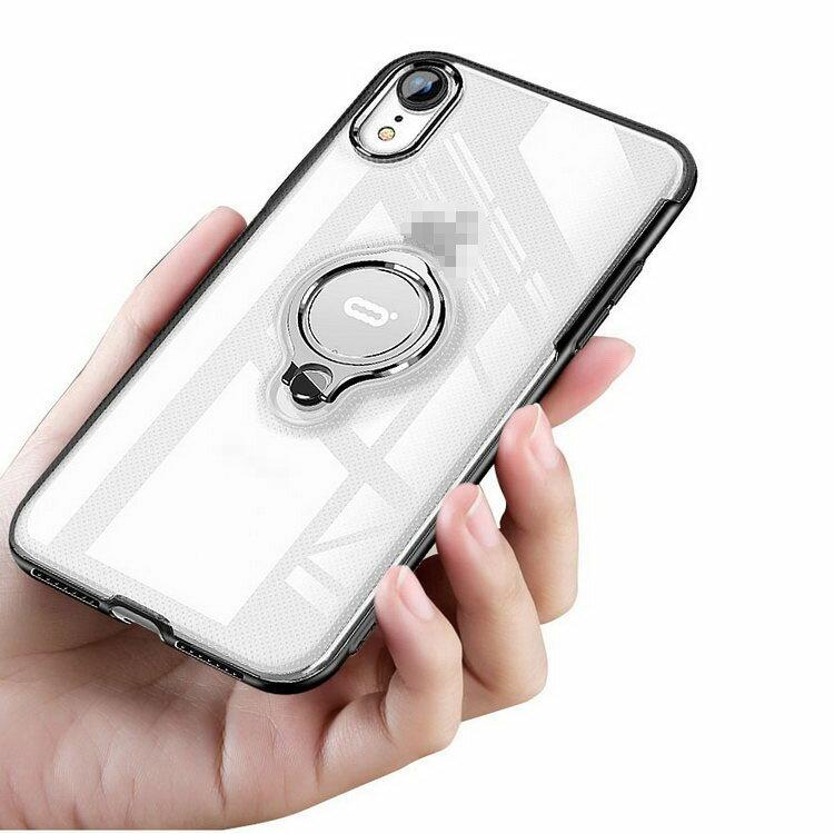 Apple iPhone XR クリアケース/カバー TPU+PC 耐衝撃 片手持ち スマホリング付き カバー シンプル スリム アイフォンXR 透明 ソフトケース/カバー おすすめ おしゃれ アップル スマフォ スマホ スマートフォンケース/カバー