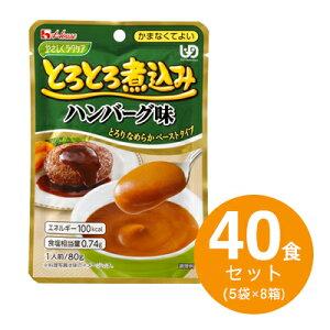 【まとめ買いでお得セット】やさしくラクケア 80gとろとろ煮込み ハンバーグ味 40食セット(5袋×8箱)【ハウス食品】【P2】