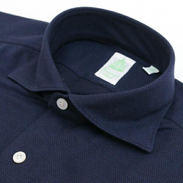 【秋冬セール】フィナモレ/FINAMORE シャツ メンズ TRONT カジュアルシャツ ネイビー TRSIMONE-012431-03NAV