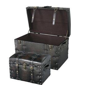 トランクセット iw-876 収納ボックス スツール オットマン おもちゃ箱 宝箱 椅子 イス 衣装ケース レザー おしゃれ インテリア 家具 新生活 一人暮らし
