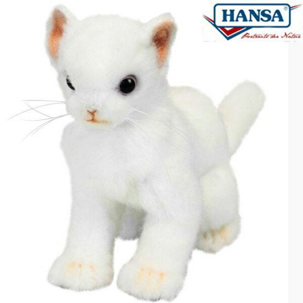 HANSA 6490 ネコ(コ) ホワイト16 全長:16cm KITTEN WHITE BH6490 ぬいぐるみ ハンサ 子猫 クリスマス 誕生日 プレゼント 動物 犬 猫 鳥 うさぎ ペンギン アニマル 置物 人形 フィギュア KOESEN ケーセン カロラータ 大きい マスコット 実物大 大型