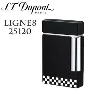 【純正ガス プレゼント!】正規品 デュポン LINE8 25120 チェッカーフラッグ 黒 ブラックラッカー クロム ライン8 LIGNE8 クリスマス プレゼントにも最適!ガスライター S.T.Dupont ギフト 贈答品 誕