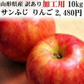 【ポイント10倍】【加工用】【送料無料】山形県産無選別サンふじリンゴ10kg
