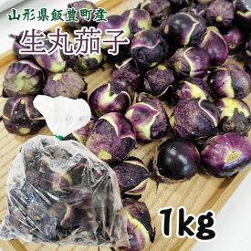 薄皮丸茄子 生1kg 山形県飯豊町産 クール便 なす
