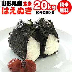 【送料無料】令和元年度産 山形県産 お米はえぬき 玄米 20kg(10kg袋×2)【白米・無洗米・分づき】