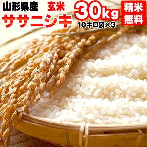 【送料無料】【当日精米】令和2年度産 山形県産 お米ササニシキ 玄米 30kg(10kg×3袋)【白米・無洗米・分づき】