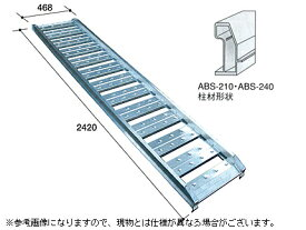 1.2t アルミブリッジ 2本セット アルミス アルミブリッジ 小型建機・農機用 ABS-240-40-1.2 【ツメ式】【有効長2400×有効幅400(mm)】【240cm 40cm 1.2t】【最大積載1.2t/セット(2本)】【代引不可】 道板 歩み板 ラダー