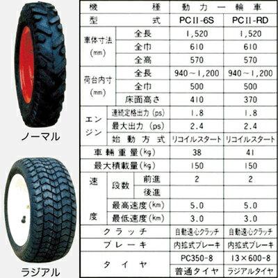 エルタ動力一輪車(運搬車)PC2-6S【150キロ積載】(パワーカート/普通タイヤ仕様)【ホイール式運搬車】