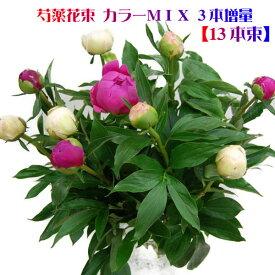 芍薬花束 3本増量 13本束でお届け カラーMIX